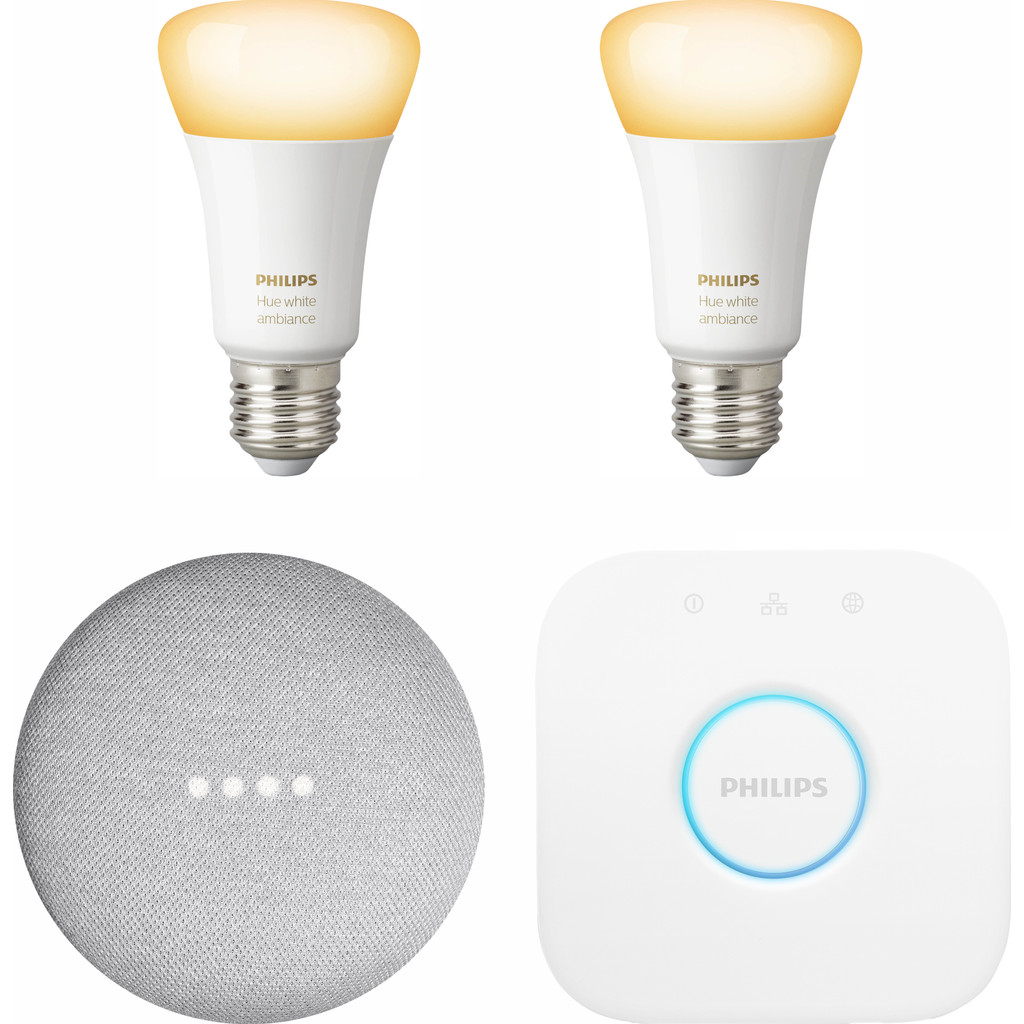Google Nest Mini Philips Hue White Ambiance Starter Duo Pack