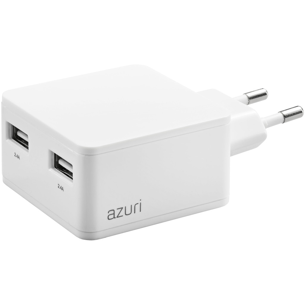 Azuri 100-240V home charger with phone base 2 USB ports 4.8Amp wit