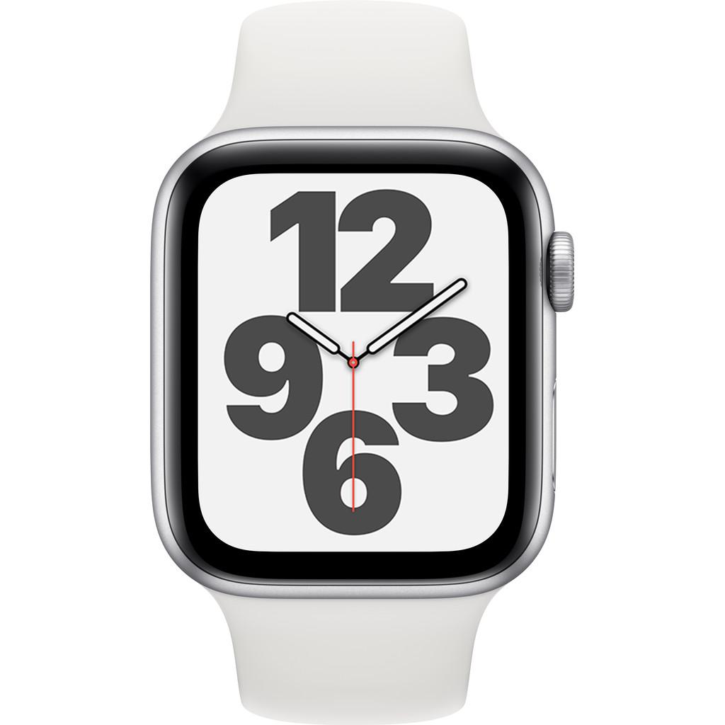 Tweedekans Apple Watch SE 44mm Zilver Aluminium Witte Sportband