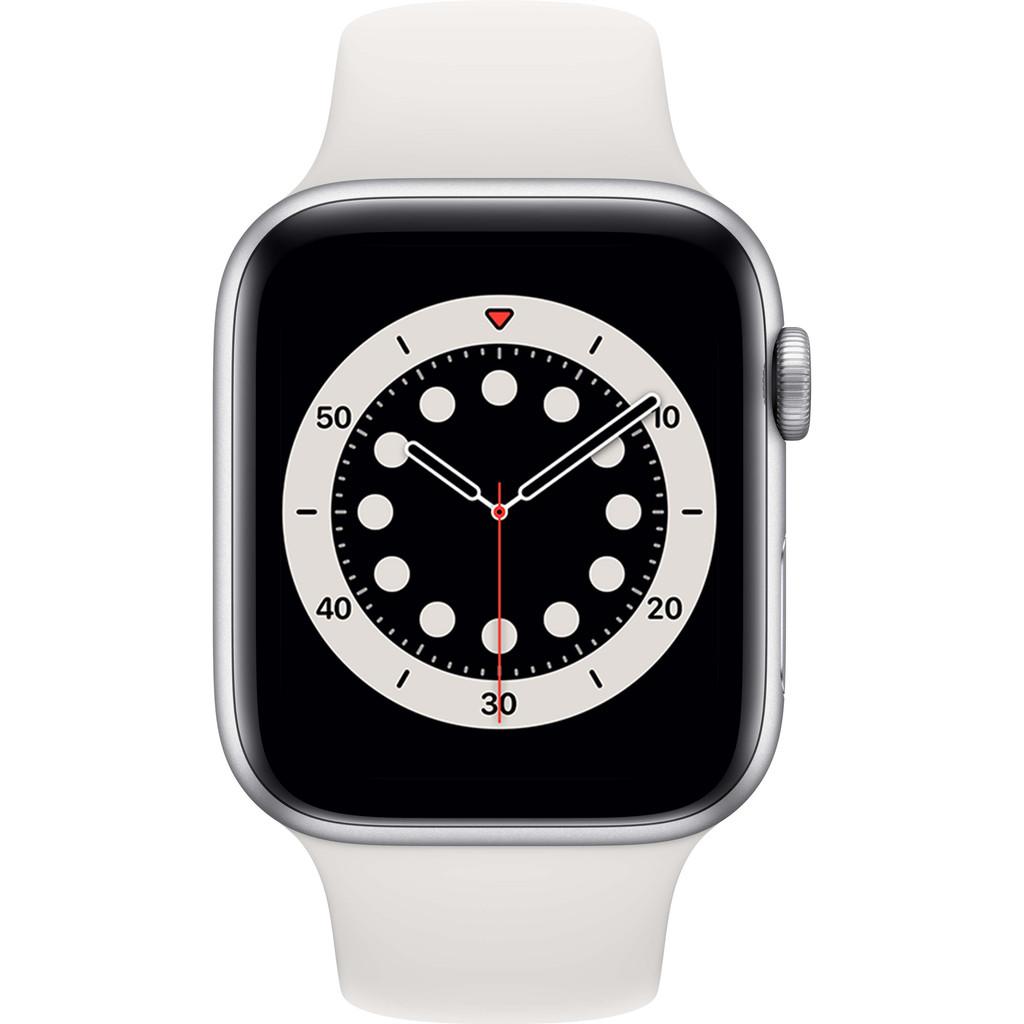 Tweedekans Apple Watch Series 6 44mm Zilver Aluminium Witte Sportband