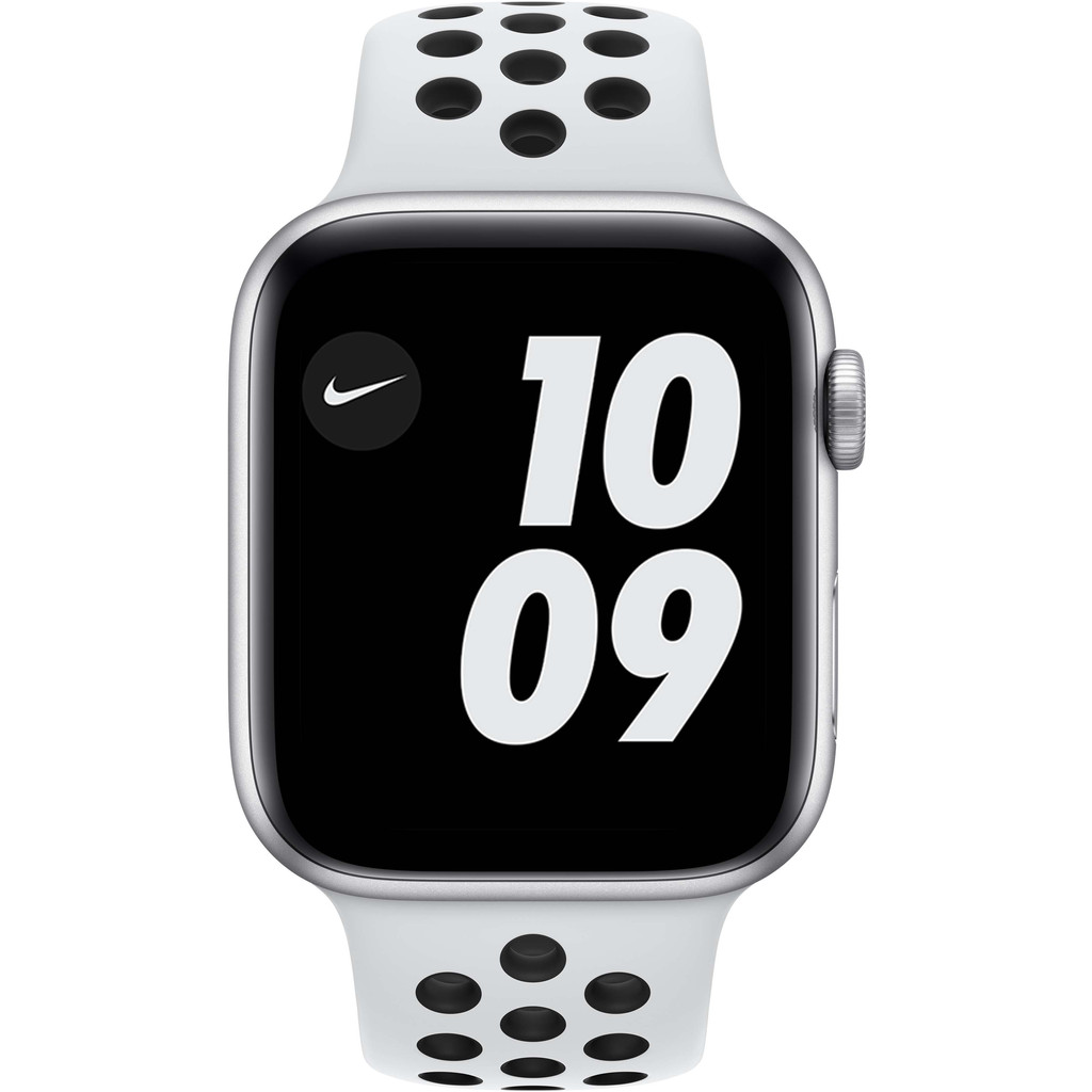 Tweedekans Apple Watch Nike SE 44mm Zilver Aluminium Witte Sportband