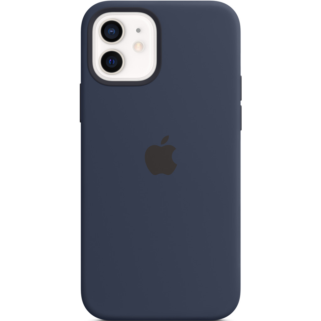 Tweedekans Apple iPhone 12 (Pro) Silicone Back Cover met MagSafe Donkermarineblauw