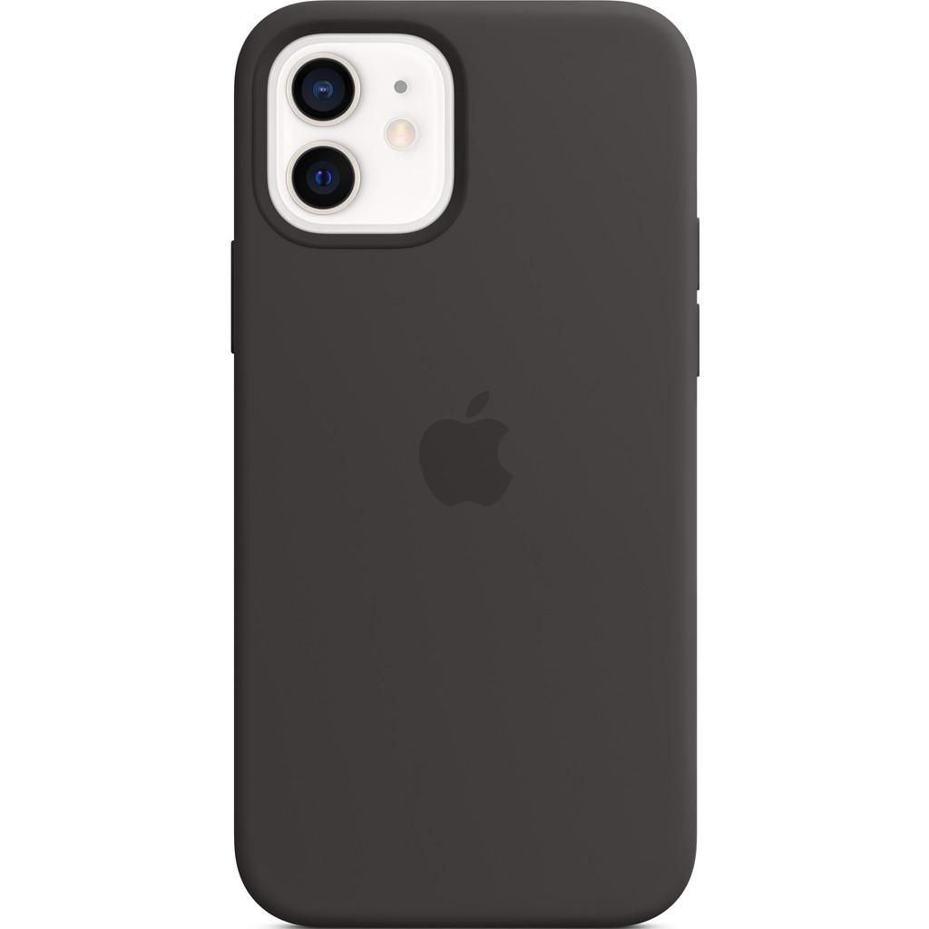 Tweedekans Apple iPhone 12 (Pro) Silicone Back Cover met MagSafe Zwart