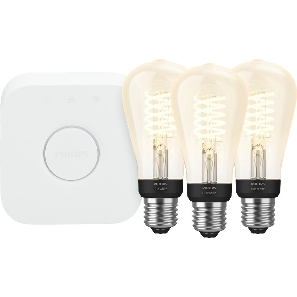 Philips Hue Filamentlamp White Edison E27 Bluetooth Starter 3 pack Nu voor 122.96 euro!