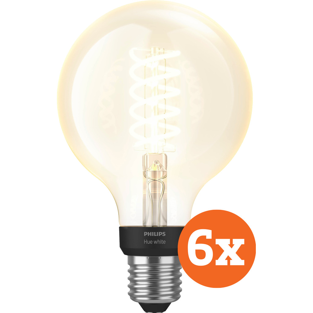 Philips Hue Filamentlamp White Globe E27 Bluetooth 6-Pack