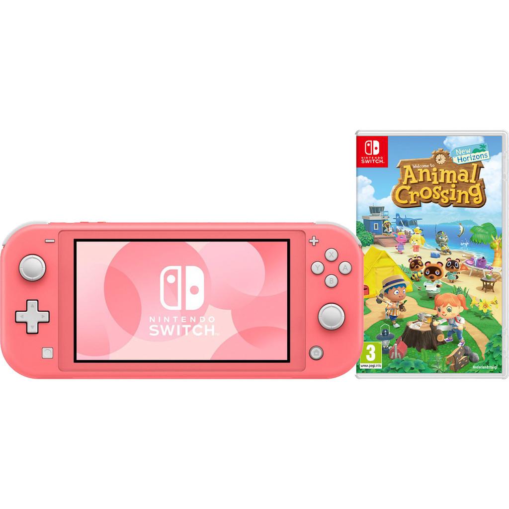 Tweedekans Nintendo Switch Lite Koraal + Animal Crossing + Nintendo Switch Online (3 maanden)