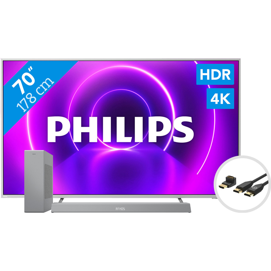 Philips 70PUS8505 - Ambilight (2020) + Soundbar + HDMI kabel