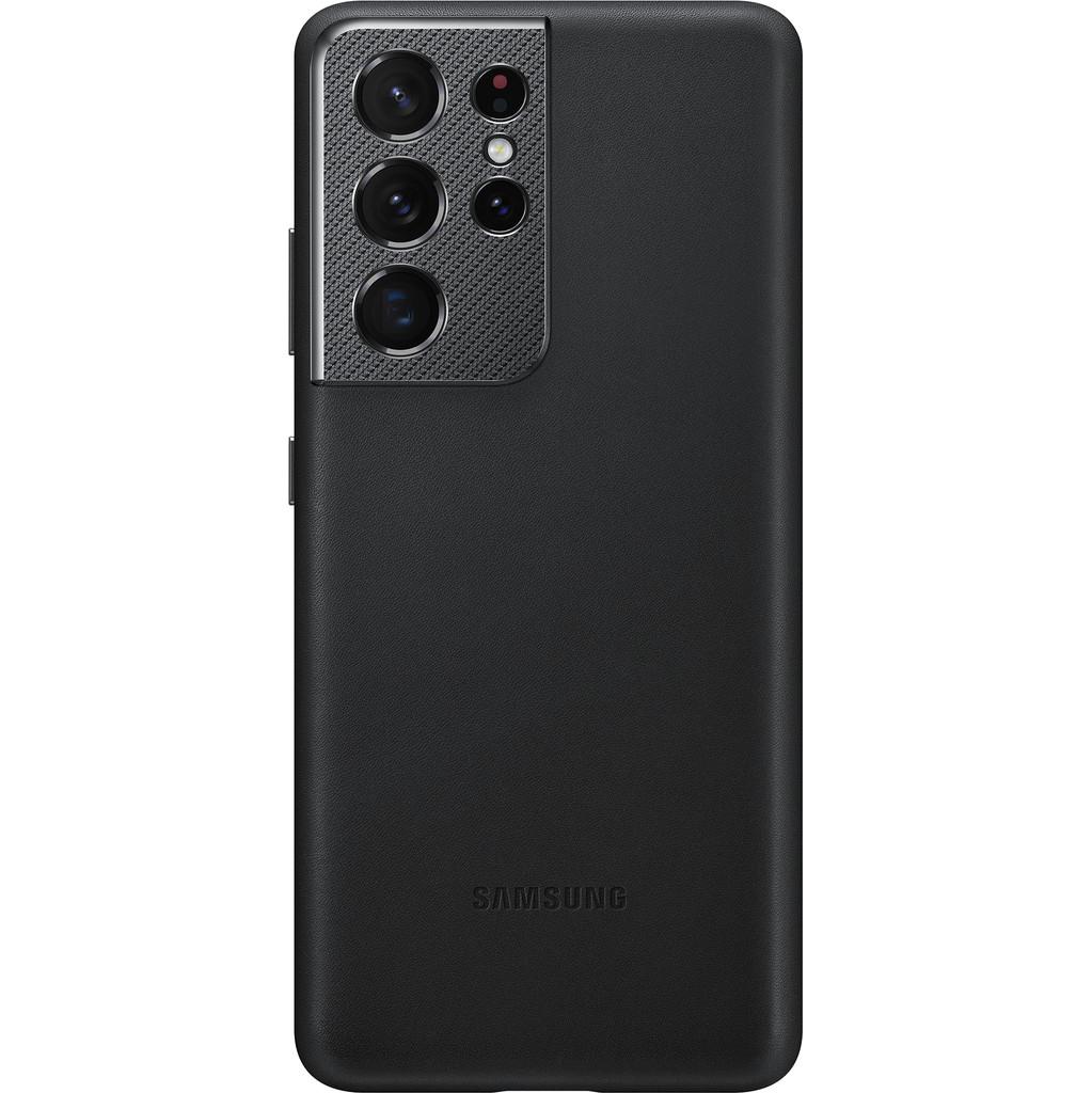 Tweedekans Samsung Galaxy S21 Ultra Back Cover Leer Zwart Tweedehands