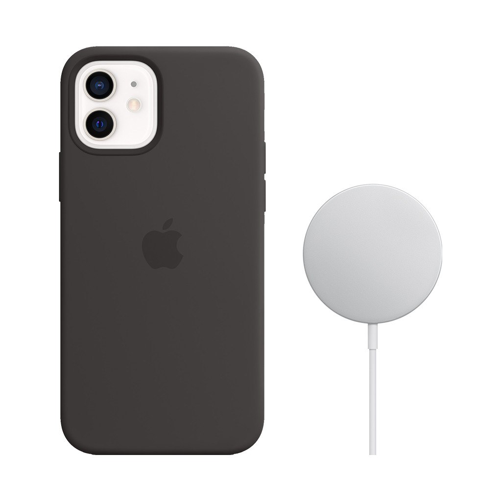 Apple iPhone 12 / 12 Pro Silicone Back Cover met MagSafe Zwart + MagSafe Draadloze Oplader