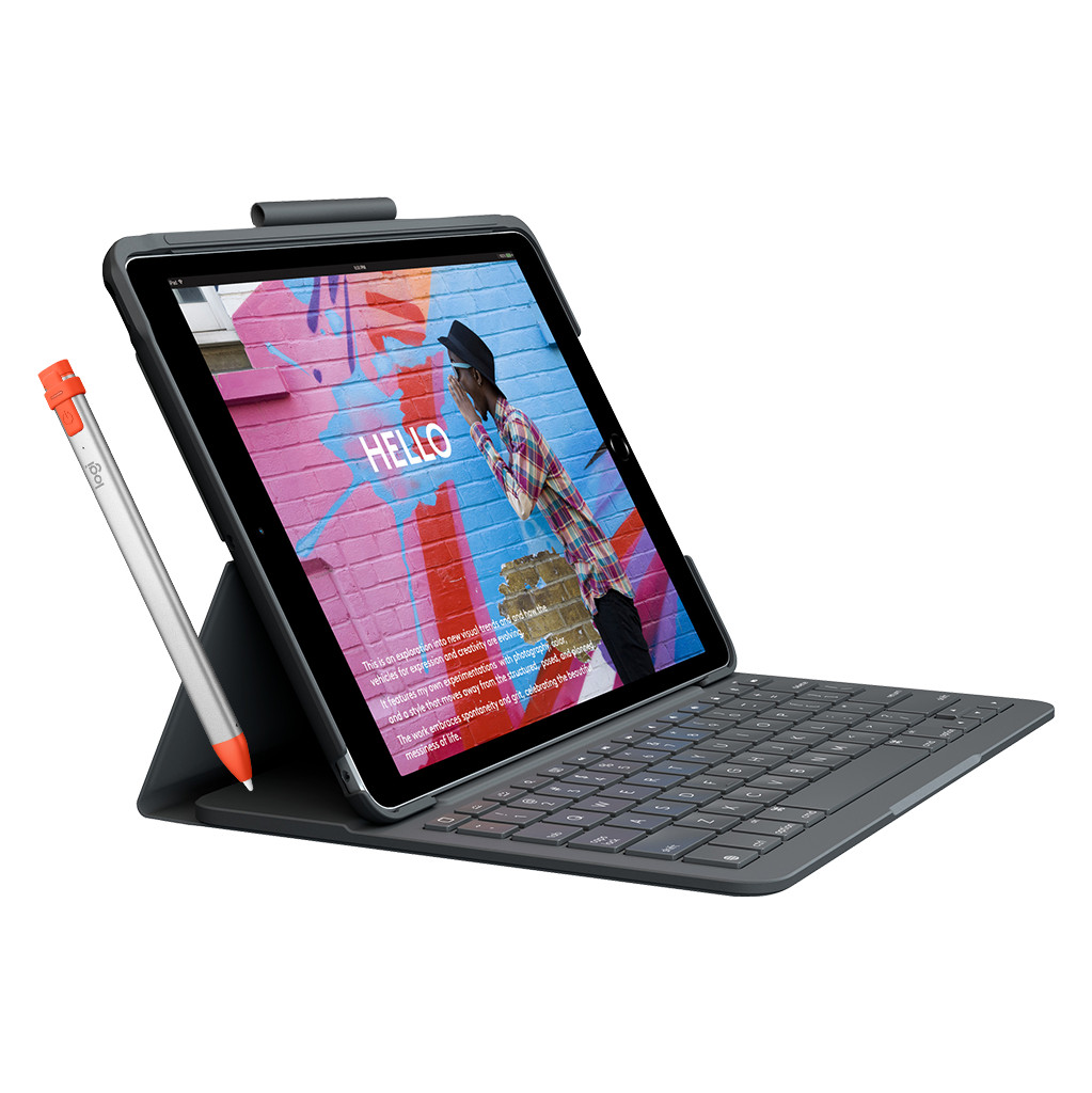 Logitech Slim Folio Apple iPad (2020)/(2019) Toetsenbord Hoes QWERTY + Pencil
