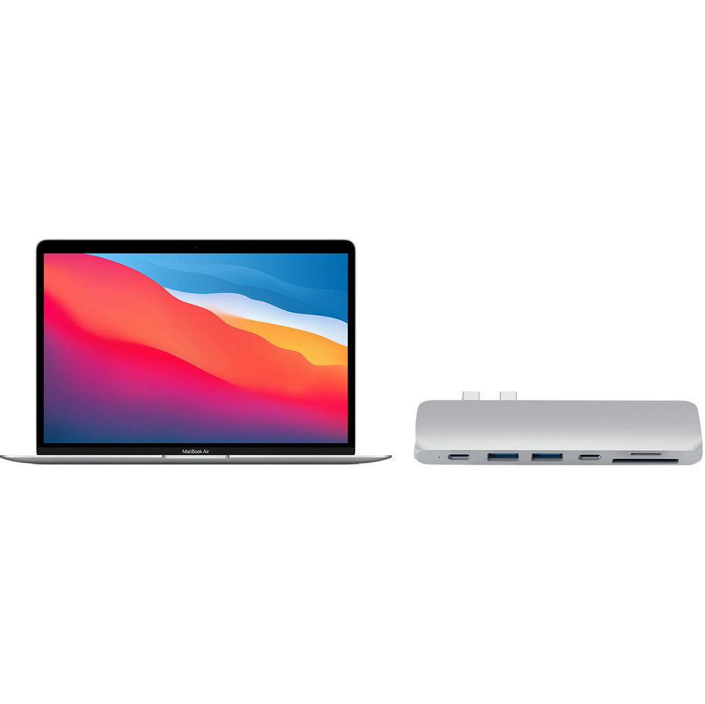 Apple MacBook Air (2020) MGN93N/A Zilver + Satechi usb C hub