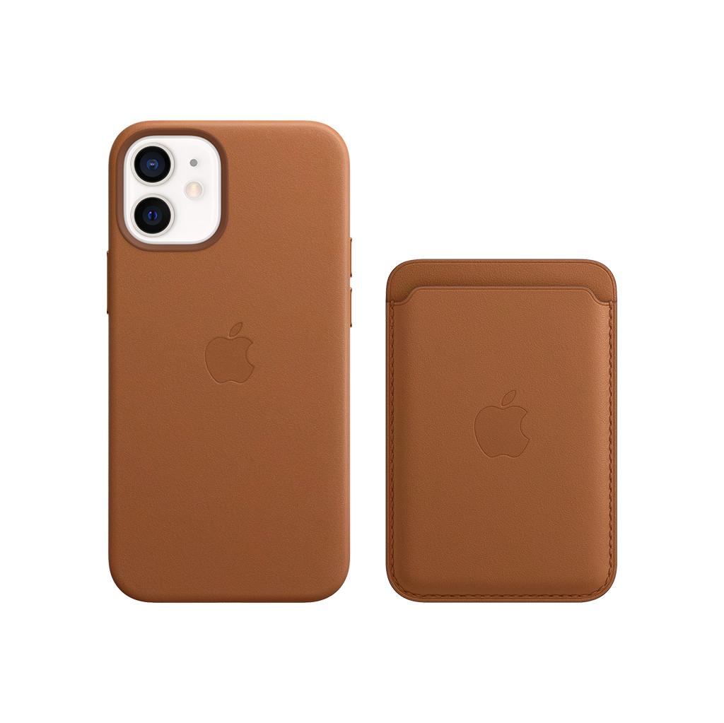 Apple iPhone 12 mini Back Cover met MagSafe Leer Bruin + Leren Kaarthouder met MagSafe