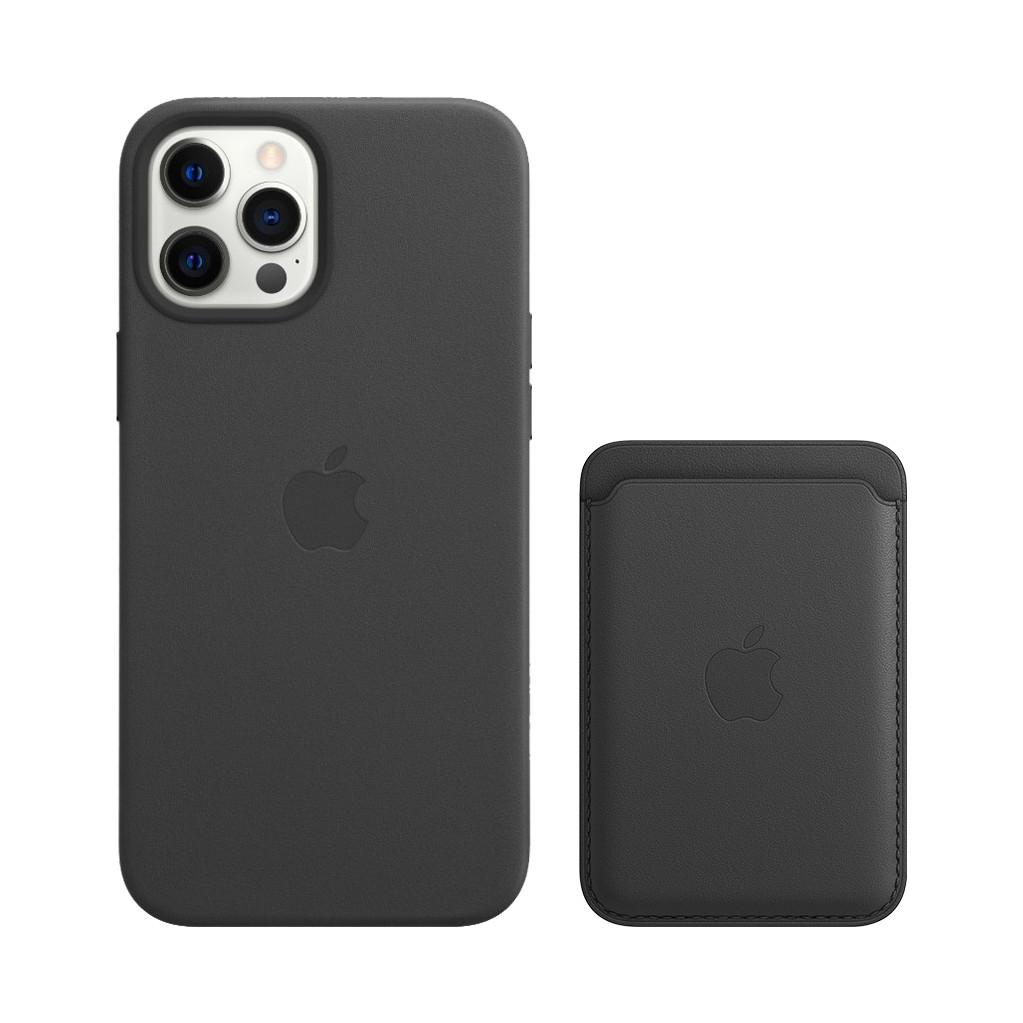 Apple iPhone 12 Pro Max Back Cover met MagSafe Leer Zwart + Leren Kaarthouder met MagSafe