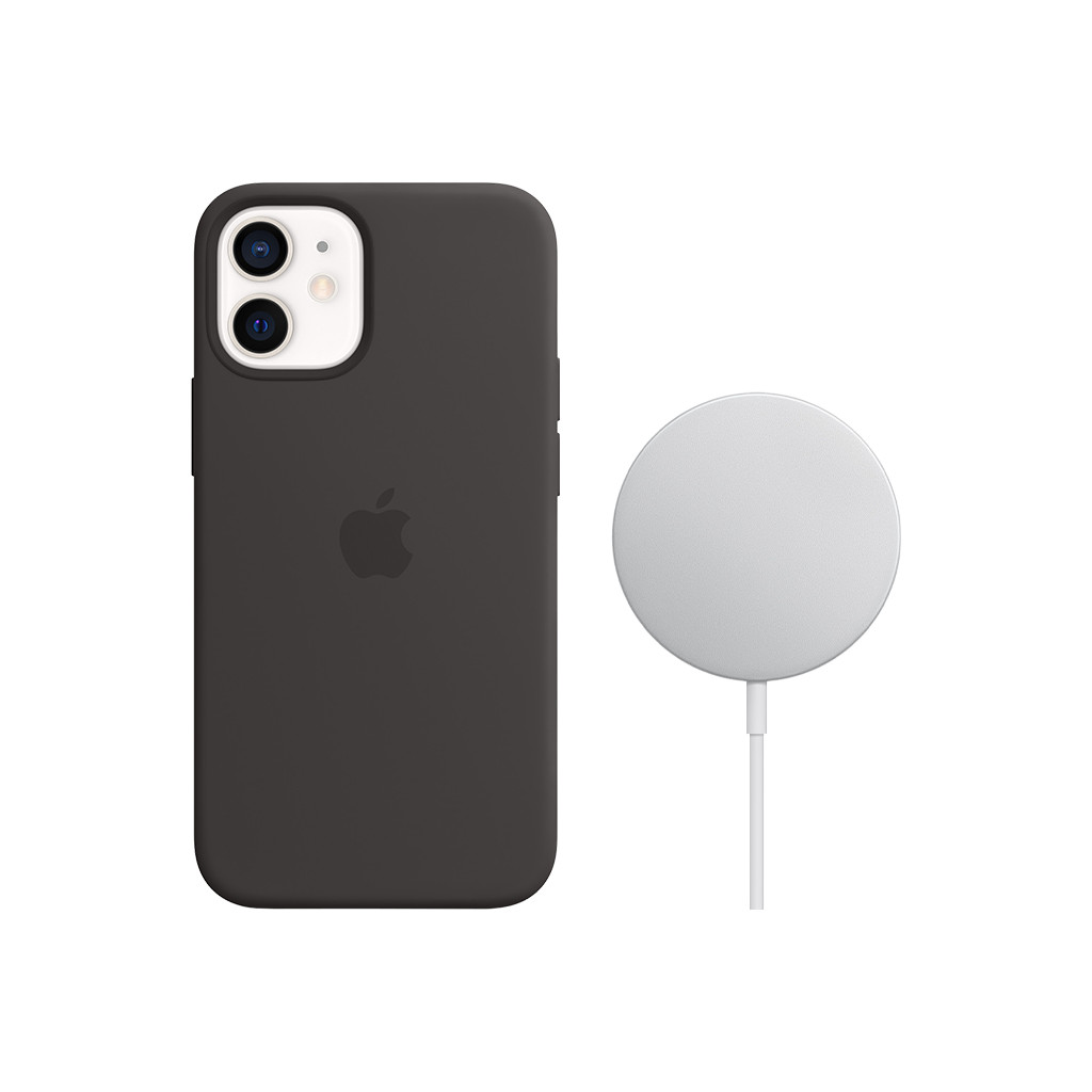Apple iPhone 12 mini Silicone Back Cover met MagSafe Zwart + MagSafe Draadloze Oplader 15W