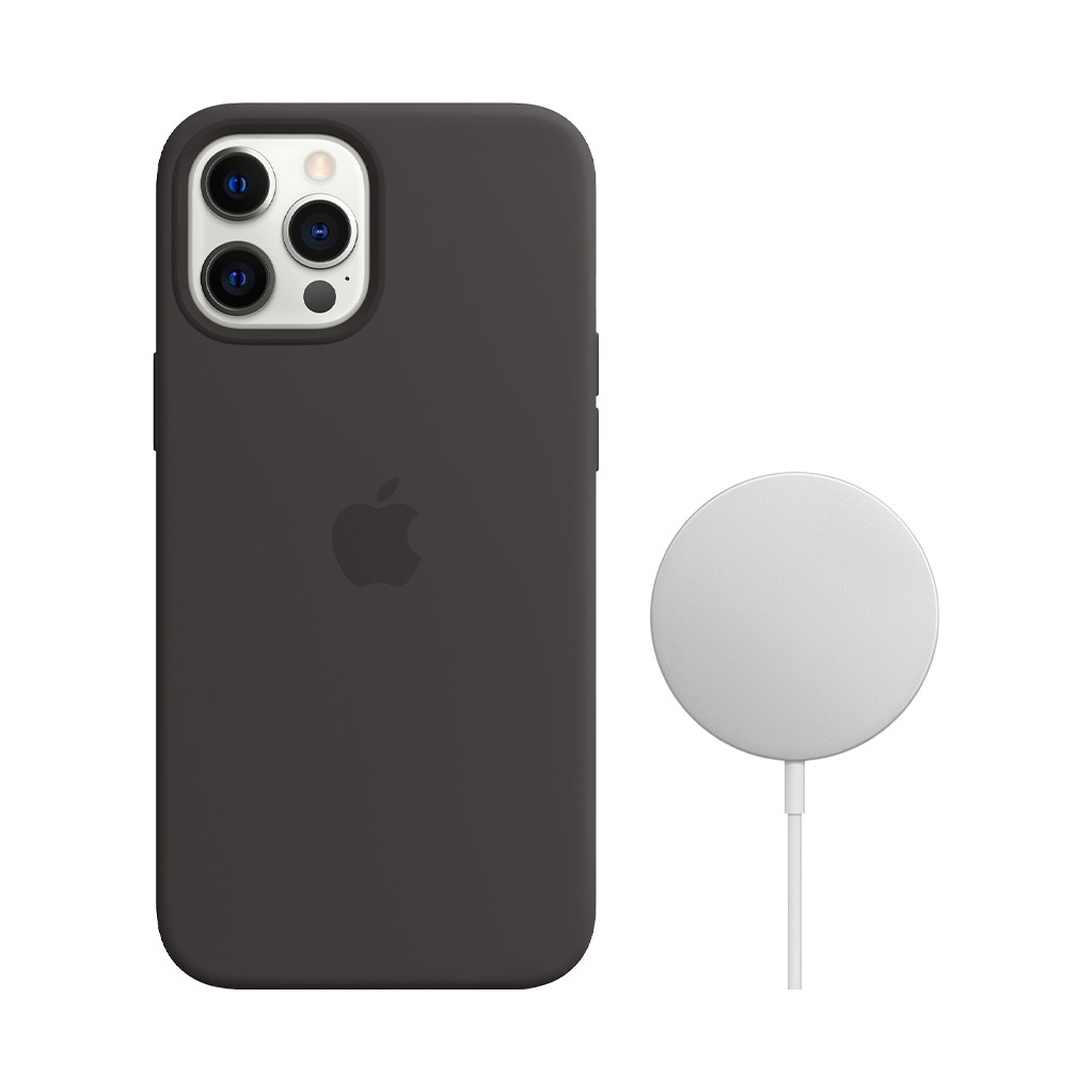 Apple iPhone 12 Pro Max Silicone Back Cover met MagSafe Zwart + MagSafe Draadloze Oplader 15W