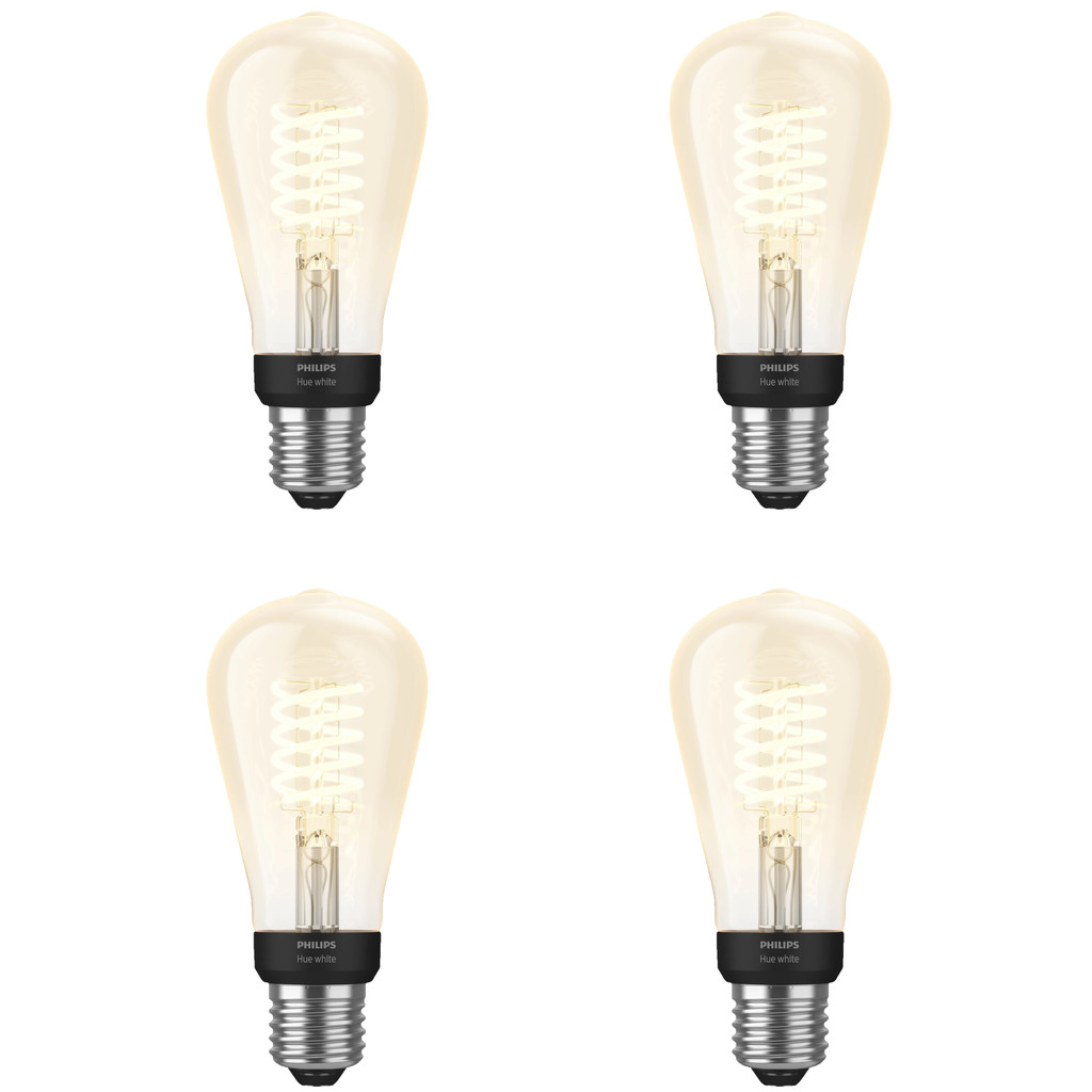 Philips Hue Filamentlamp White Edison E27 Bluetooth 4 Pack
