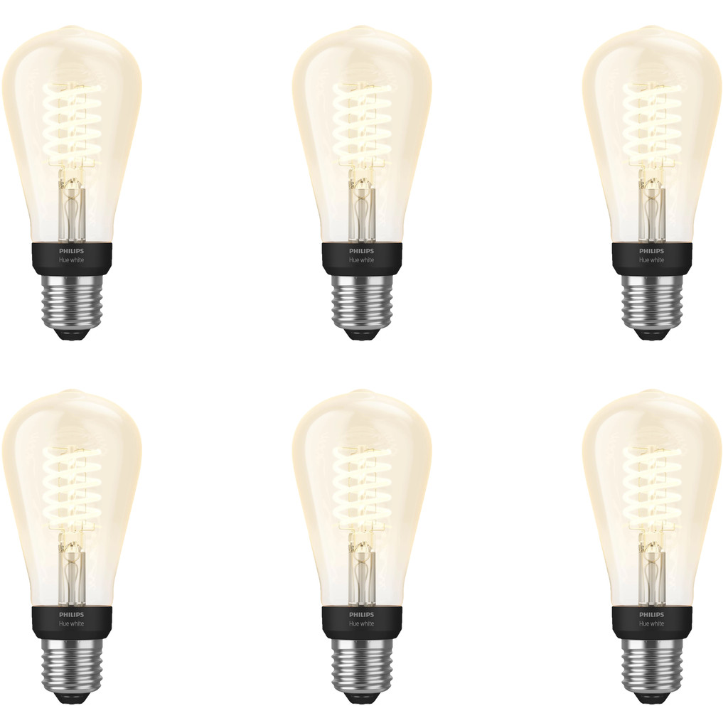 Philips Hue Filamentlamp White Edison E27 Bluetooth 6 Pack