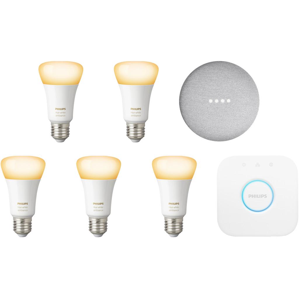 Google Nest Mini Philips Hue White Ambiance Starter 5-Pack