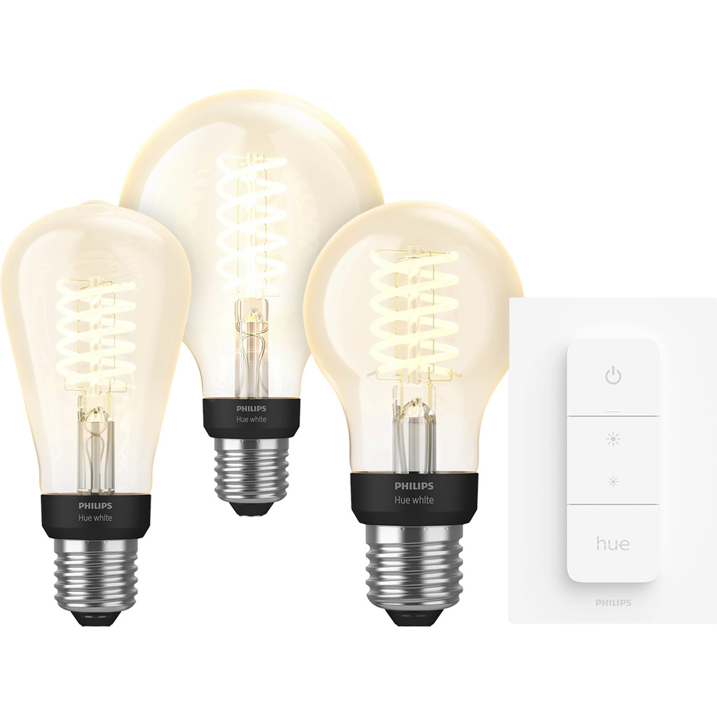 Philips Hue Filamentlamp White E27 Bluetooth 3 Pack Dimmer Nu voor 95 euro!