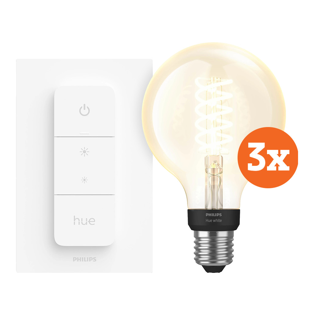 Philips Hue Filamentlamp White Globe E27 Bluetooth 3 Pack Dimmer Nu voor 105 euro!