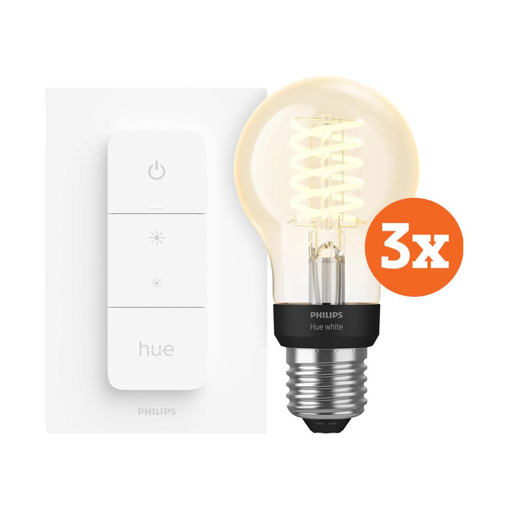 Philips Hue Filamentlamp White Standaard E27 Bluetooth 3 Pack Dimmer Nu voor 87 euro!