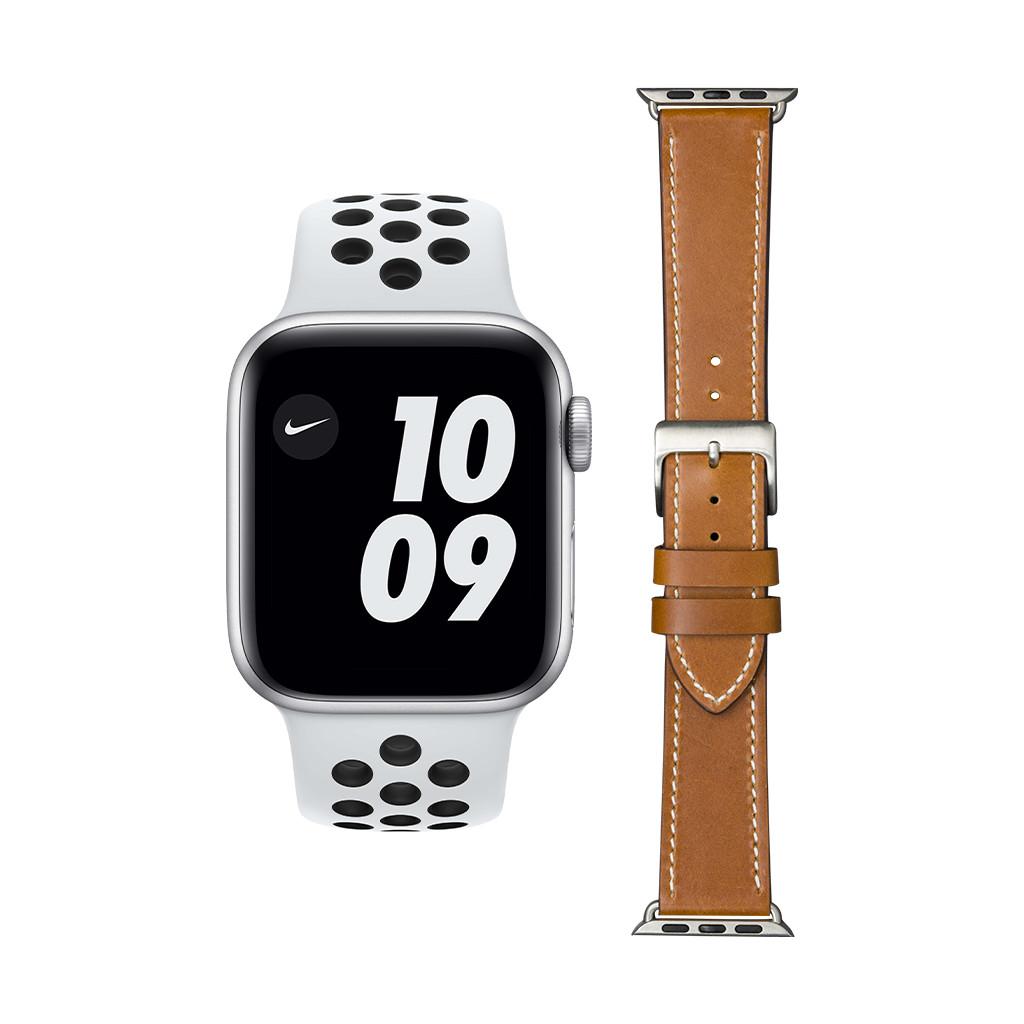 Apple Watch Nike SE 44mm Zilver Wit Bandje + DBramante1928 Leren Bandje Bruin/Zilver