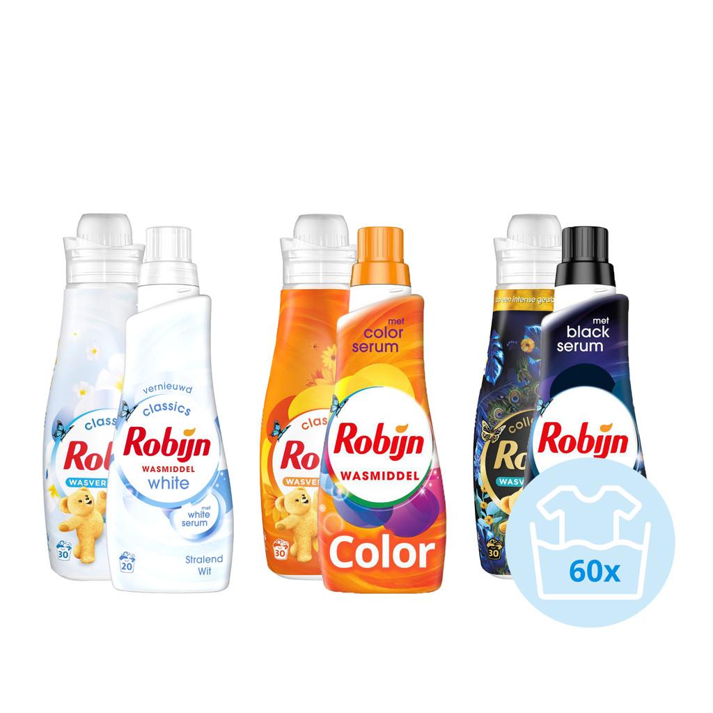 Robijn Klein & Krachtig waspakket - 3x Wasmiddel en 3x Wasverzachter