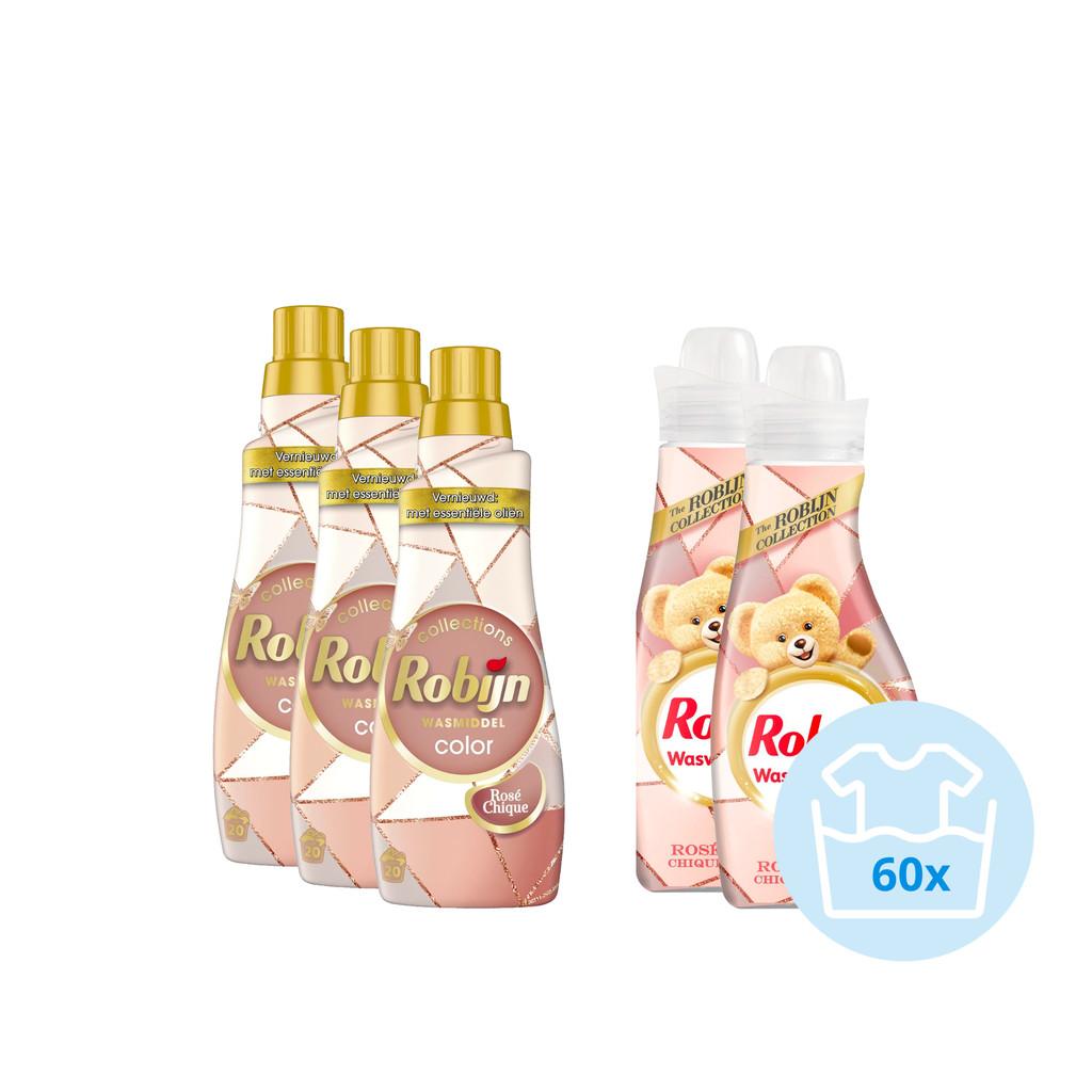 Robijn Klein & Krachtig Color Rosé Chique Pakket - 3x Wasmiddel en 2x Wasverzachter