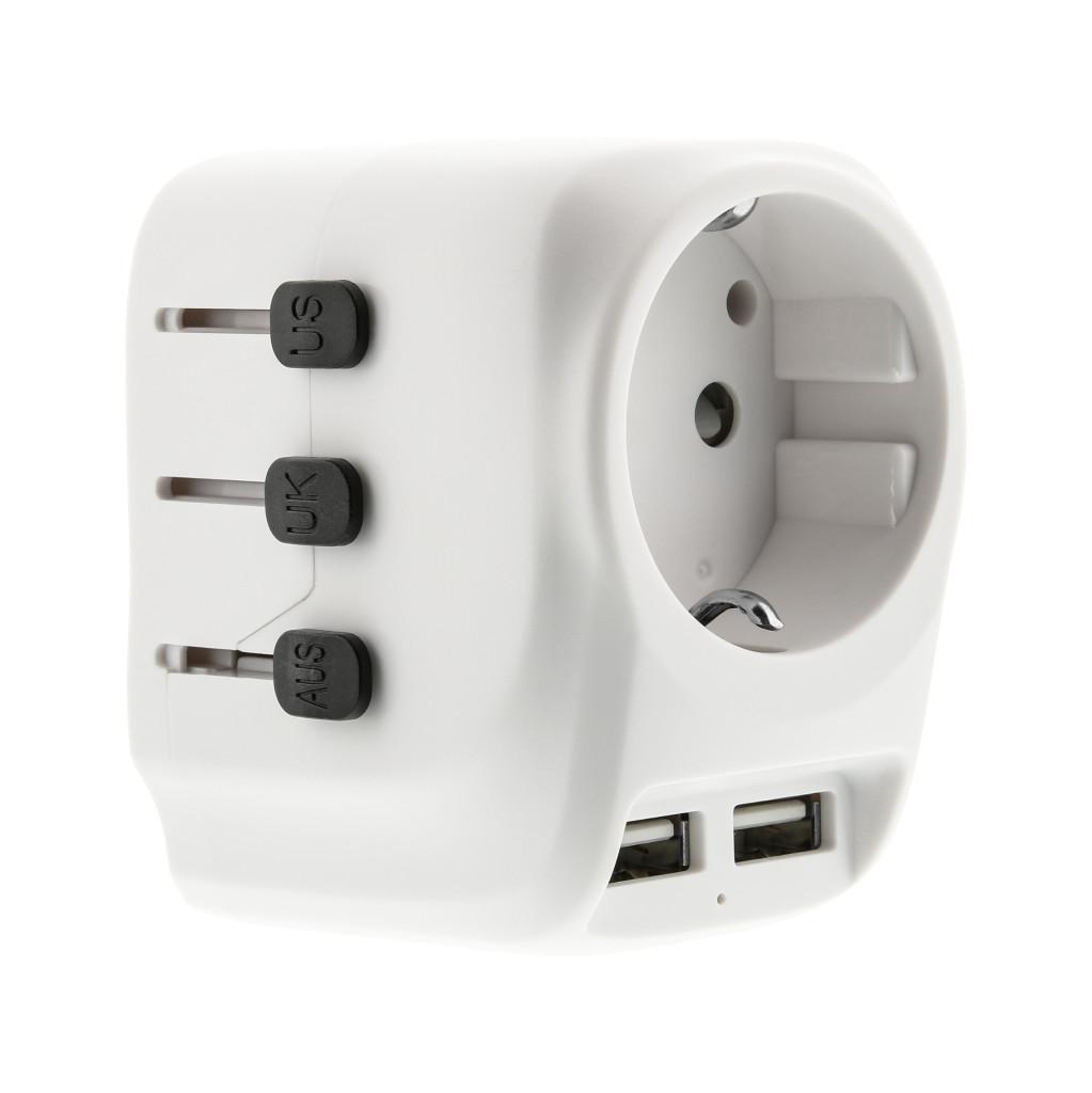 BlueBuilt all-in-one wereldstekker USB wit