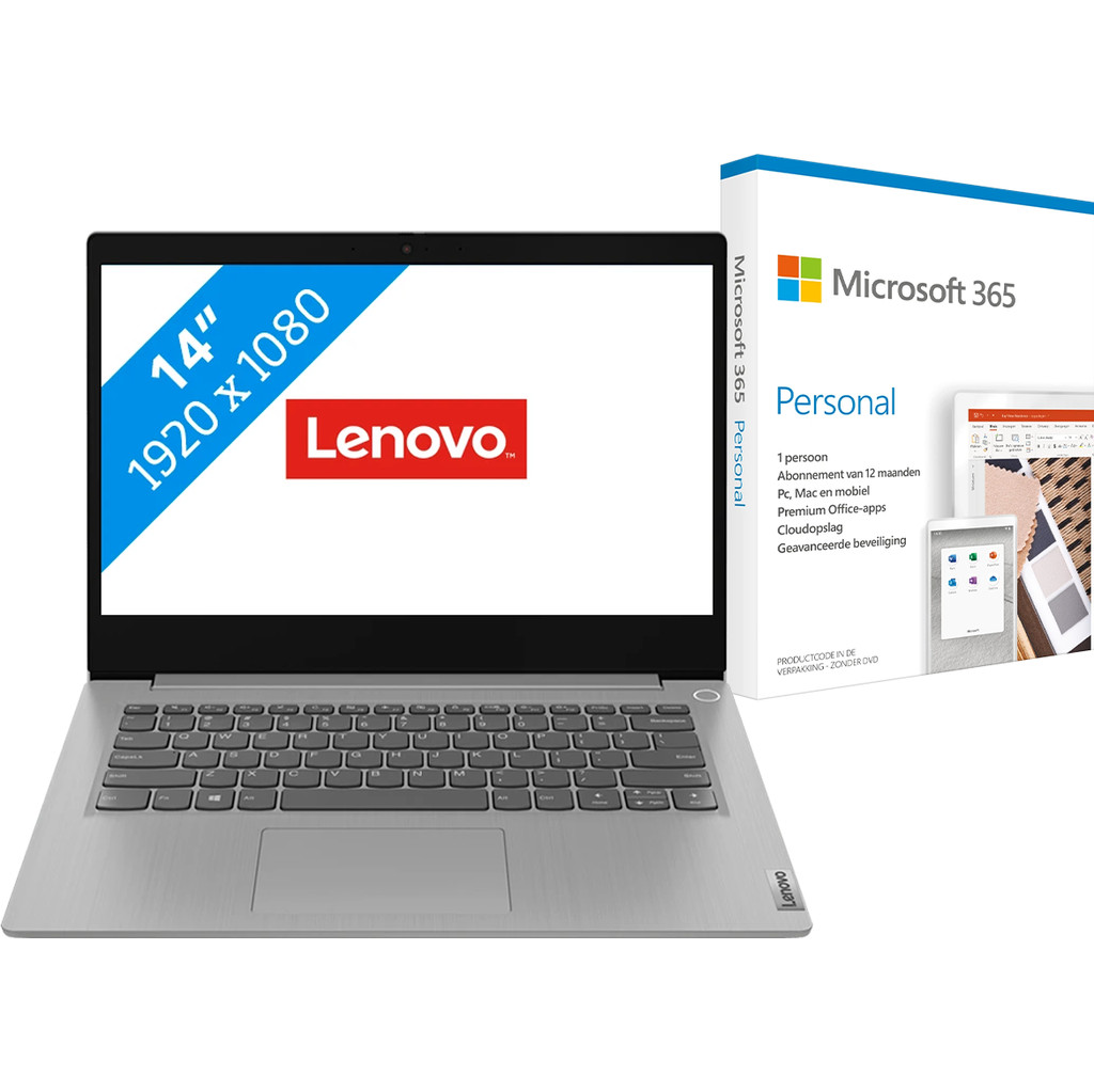 Lenovo IdeaPad 3 14IIL05 81WD00B2MH + Microsoft 365 Personal NL Abonnement 1 jaar