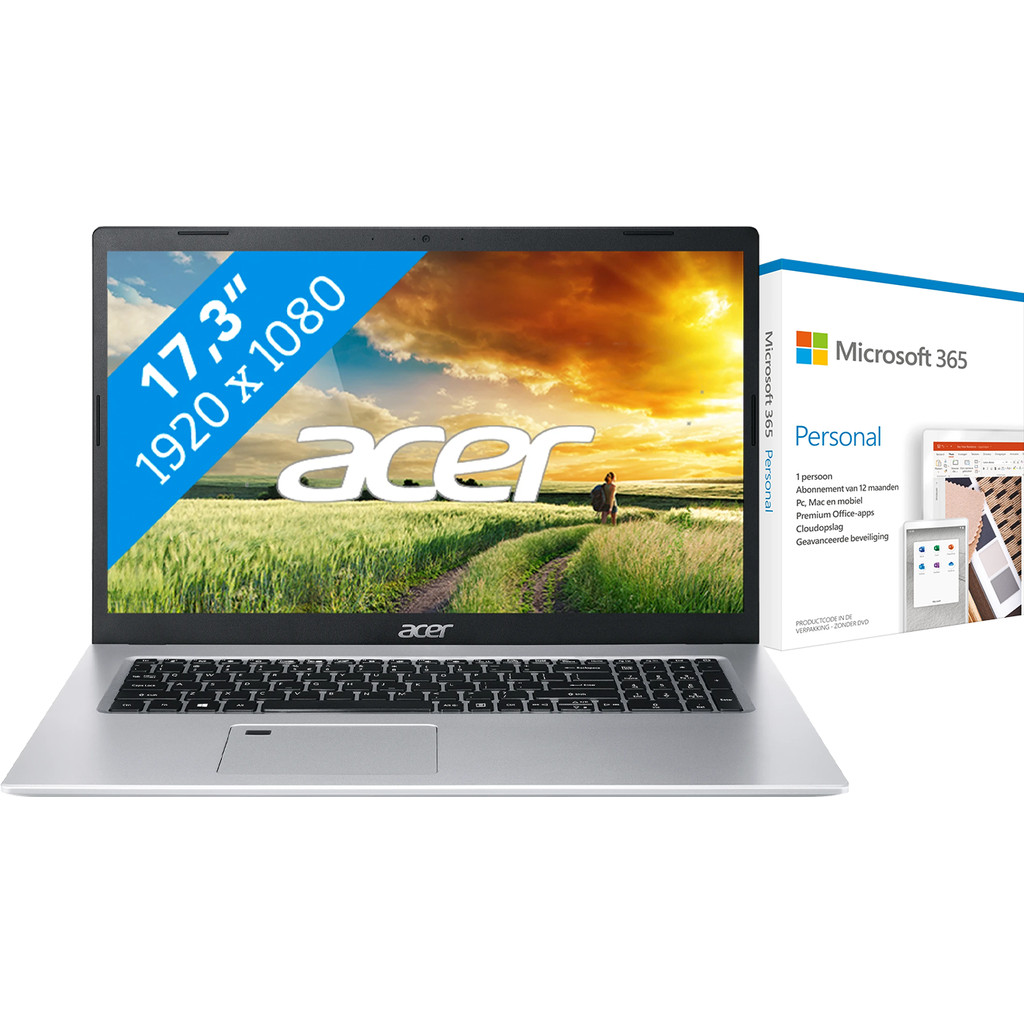 Acer Aspire 5 A517-52-52U6 + Microsoft 365 Personal NL Abonnement 1 jaar