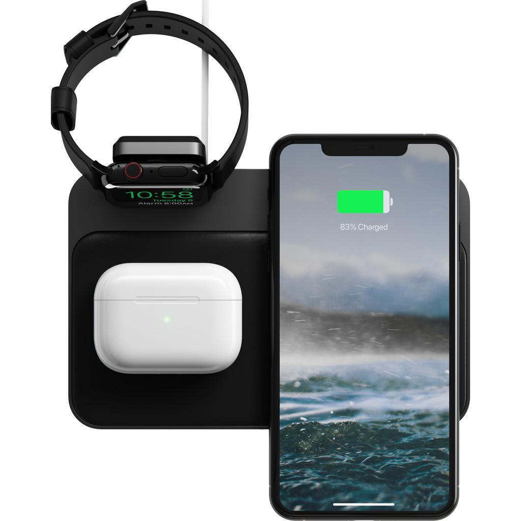 Tweedekans Nomad Base Station 3-in-1 Draadloze Oplader 10W met Houder voor Apple Watch Oplader