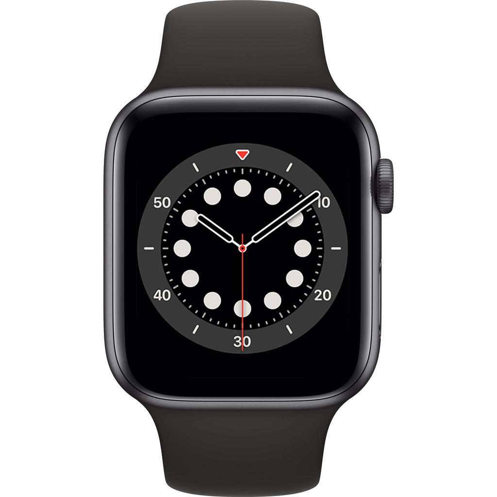 Tweedekans Apple Watch Series 6 44mm Space Gray Aluminium Zwarte Sportband Tweedehands