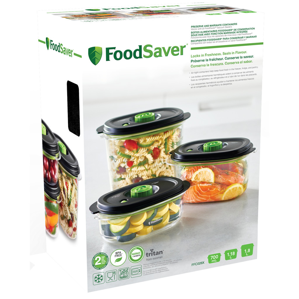 FoodSaver Fresh 2.0 Container 0.7 L + 1.2 L + 1.9 L