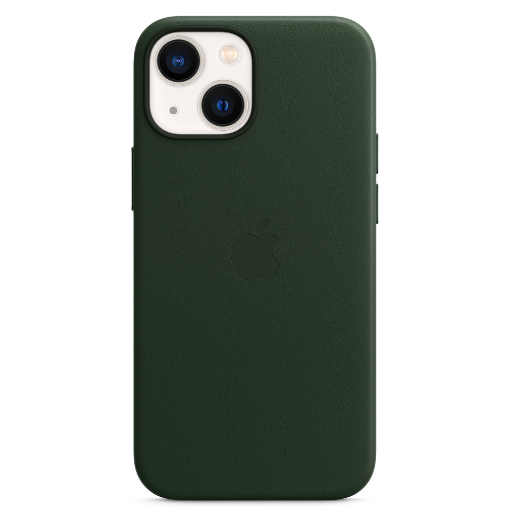 Apple iPhone 13 mini Back Cover met MagSafe Leer Sequoia-groen