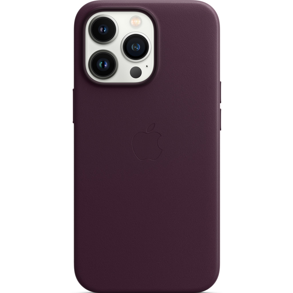 Apple iPhone 13 Pro Back Cover met MagSafe Leer Donkere kers