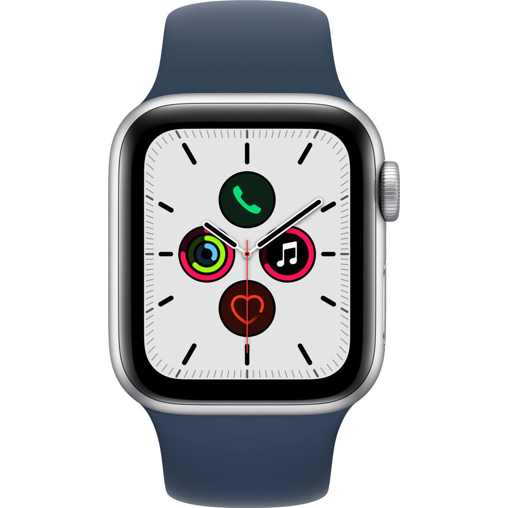 Apple Watch SE 40mm Zilver Aluminium Blauwe Sportband