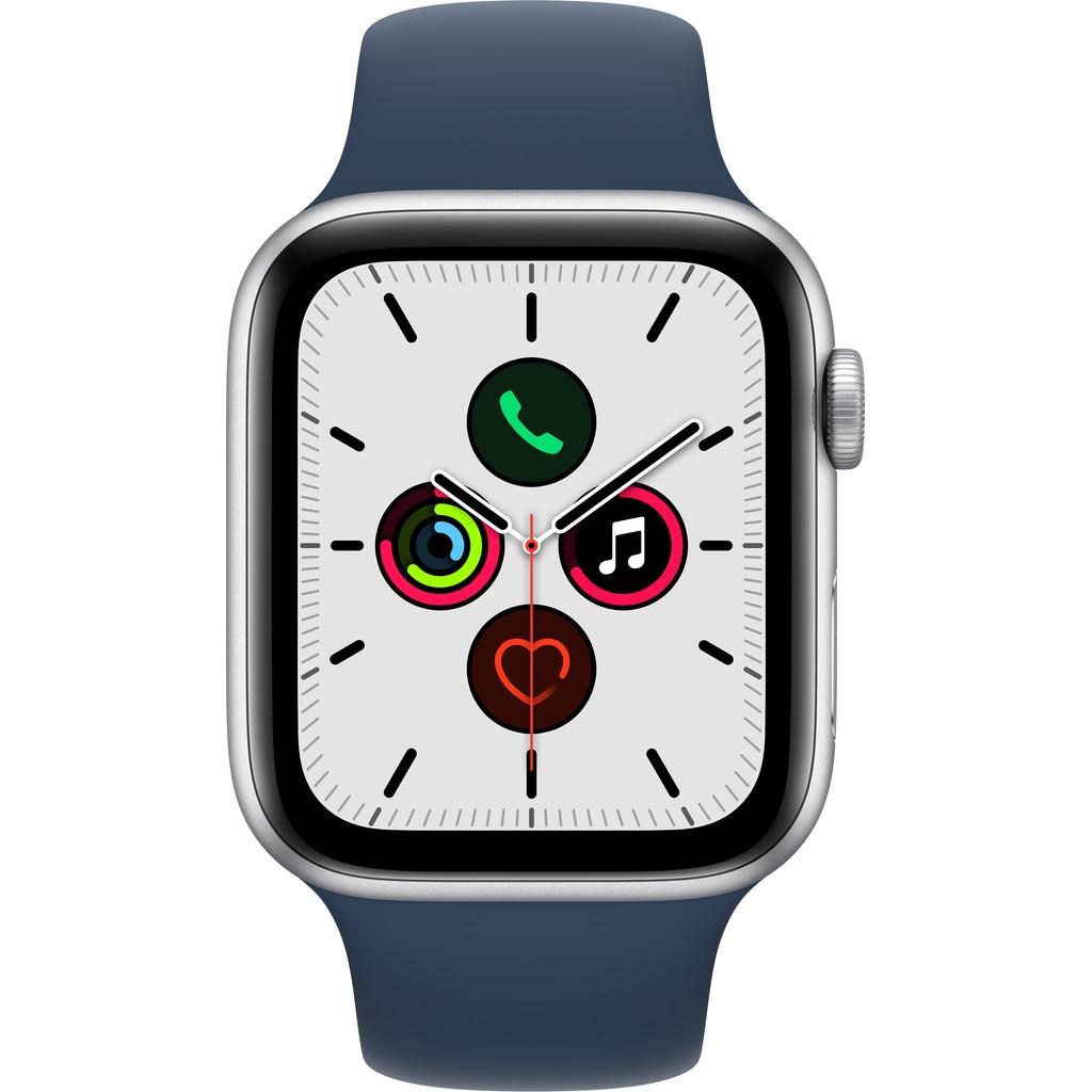Apple Watch SE 44mm Zilver Aluminium Blauwe Sportband