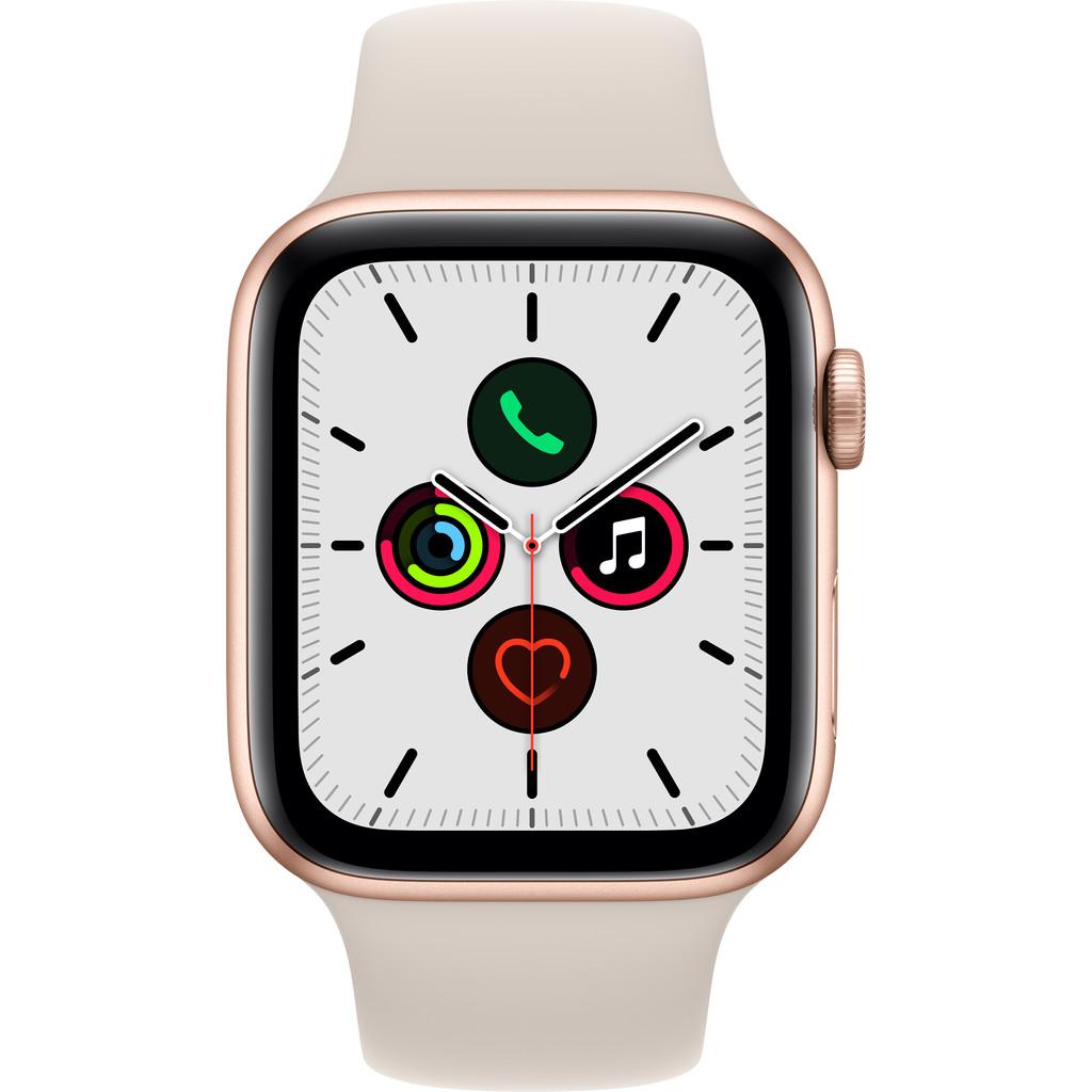 Apple Watch SE 44mm Roségoud Aluminium Crème Sportband