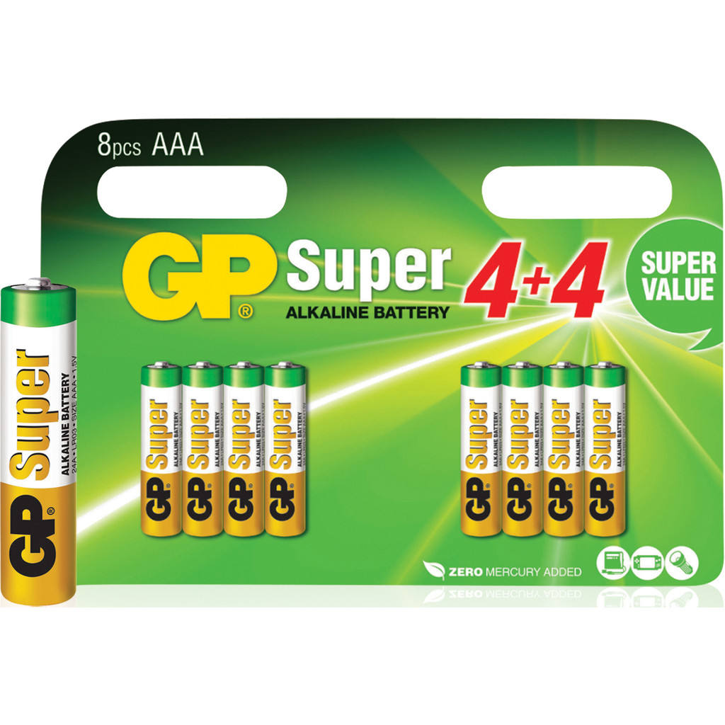 GP Super Alkaline Valuepack 8x AAA in Noordkant