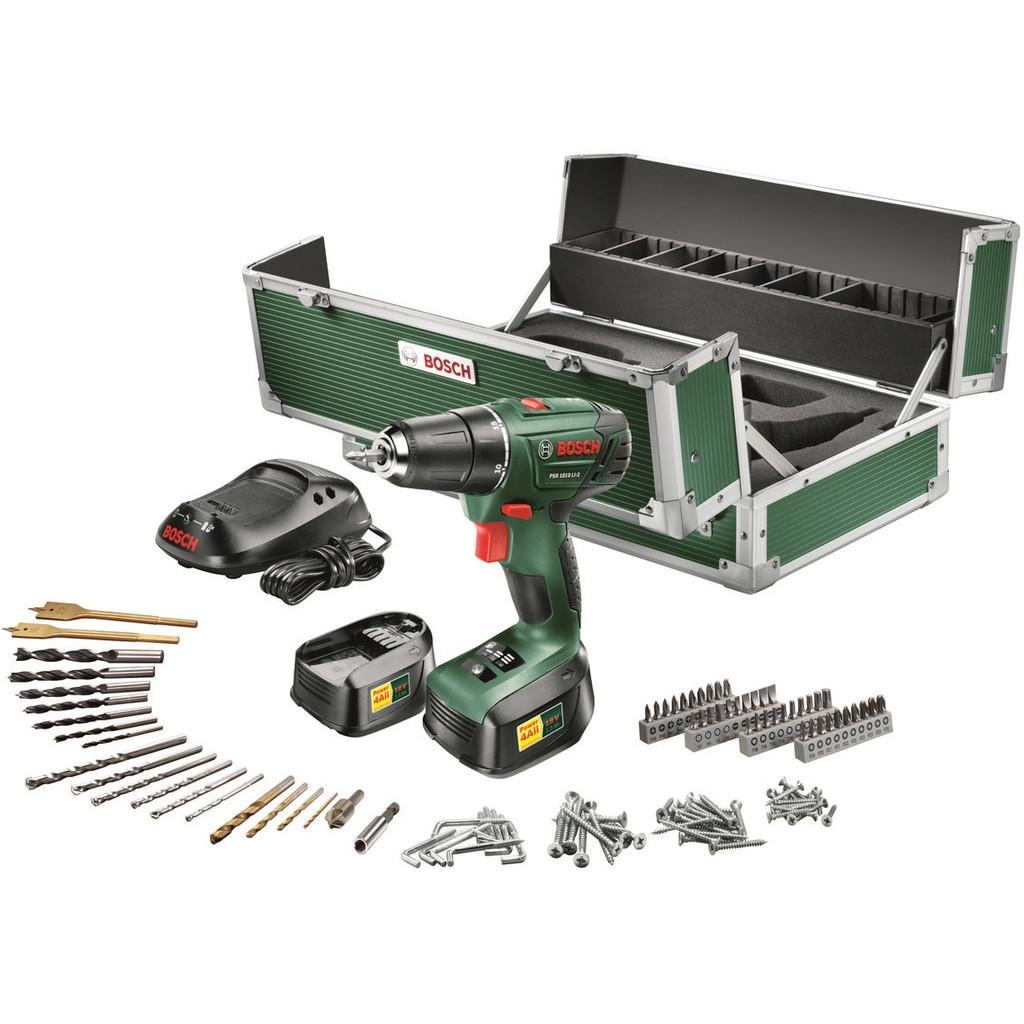 Bosch PSR 1810 Li-2 + 116 delige Toolbox