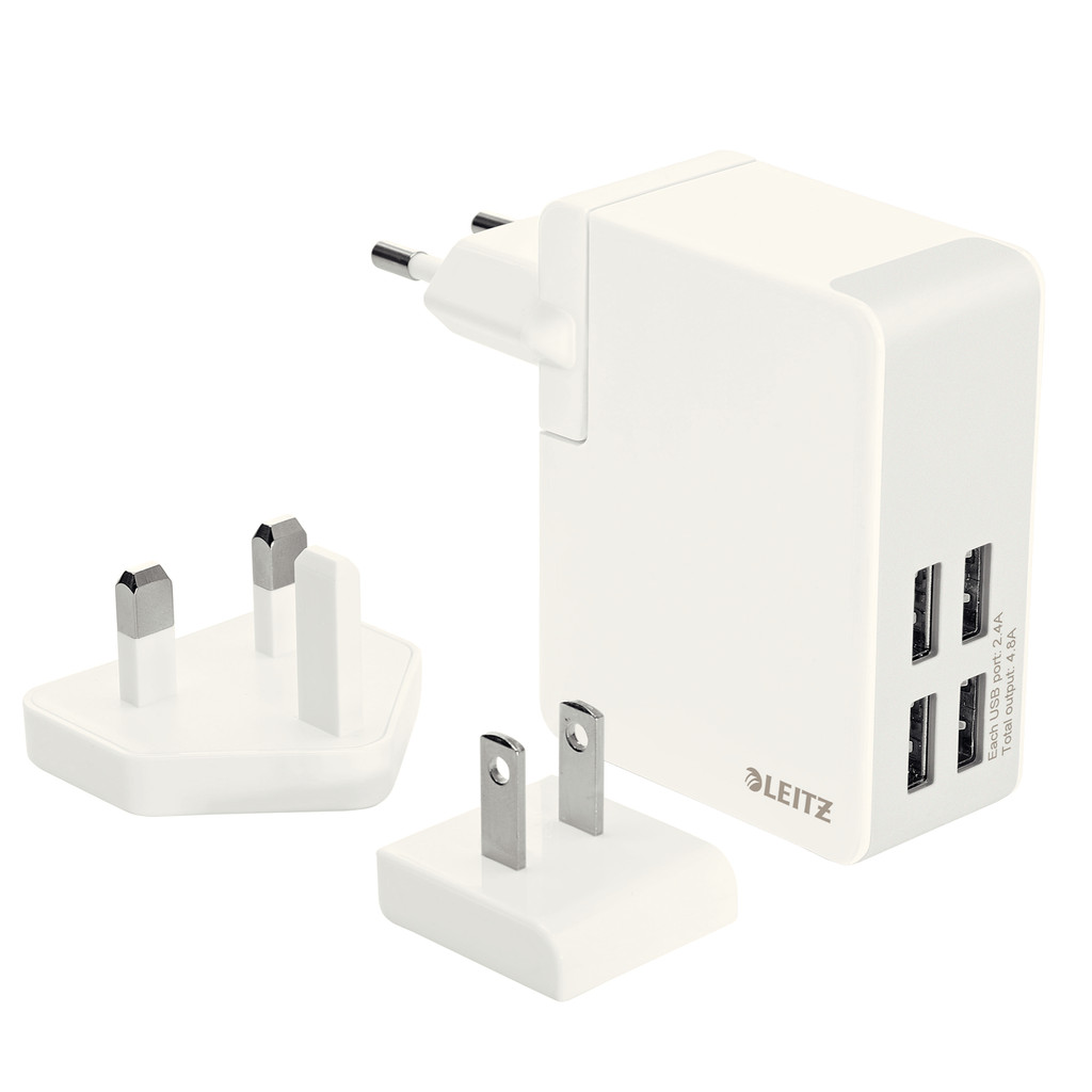 Leitz Travel Charger 4X USB Wit in Vijlen