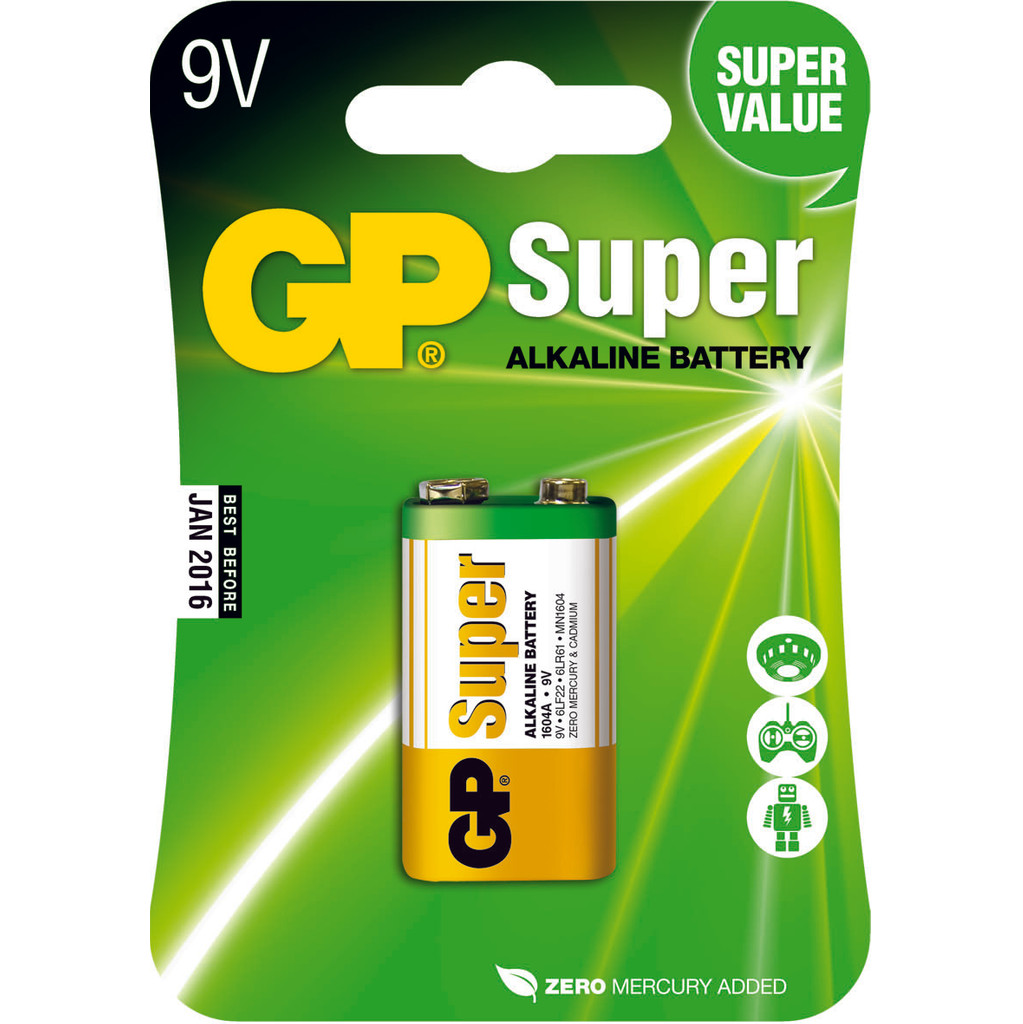GP Super Alkaline 9V blok, blister 1 in Elsenerbroek