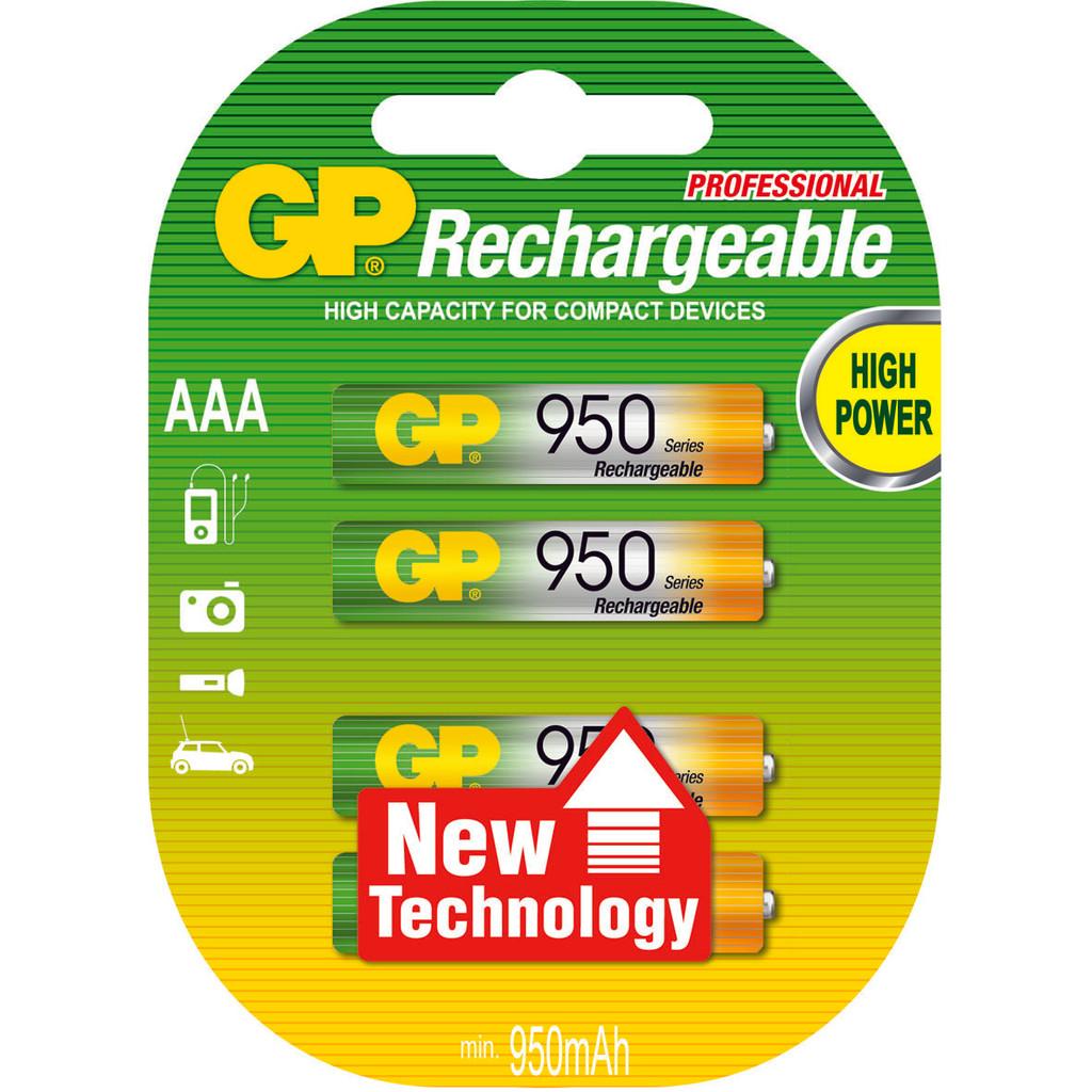 GP NiMH oplaadbare AAA 950 mAh Micro  penlite, blister 4 in Klooster