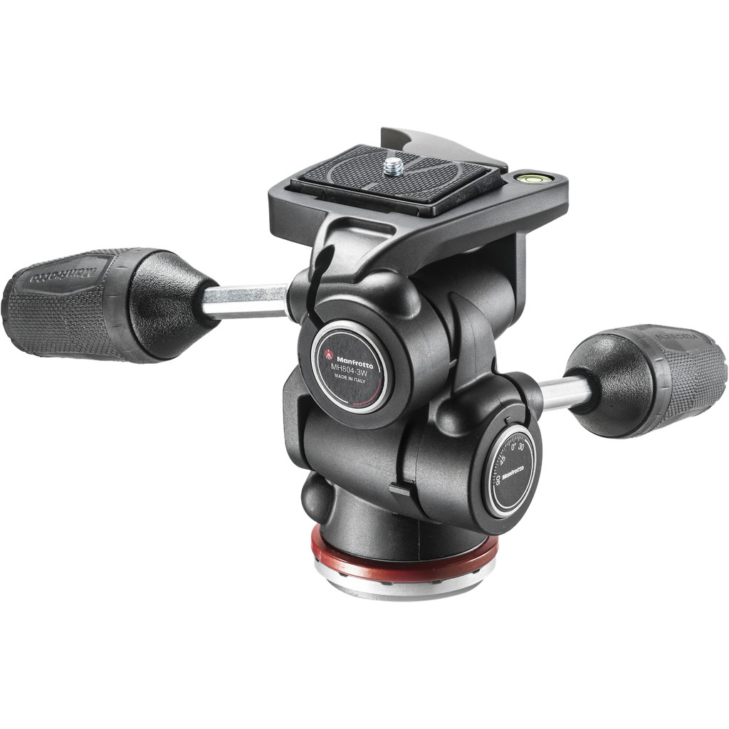 Manfrotto MH804 3-Way Head in Blauwe Hand