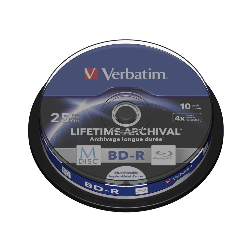VERBATIM M-DISC BD-R 4X 25GB INKJET PRINTABLE 10 PACK SPNDL in Wieringerwaard