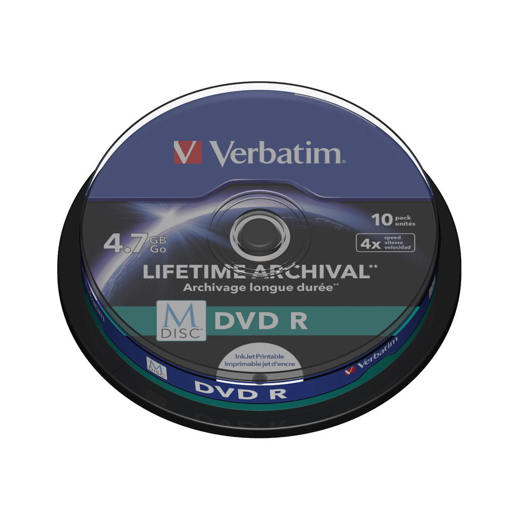VERBATIM M-DISC DVD+R 4x 4.7GB IJ PRINTABLE 10 PACK SP in Wadenoijen