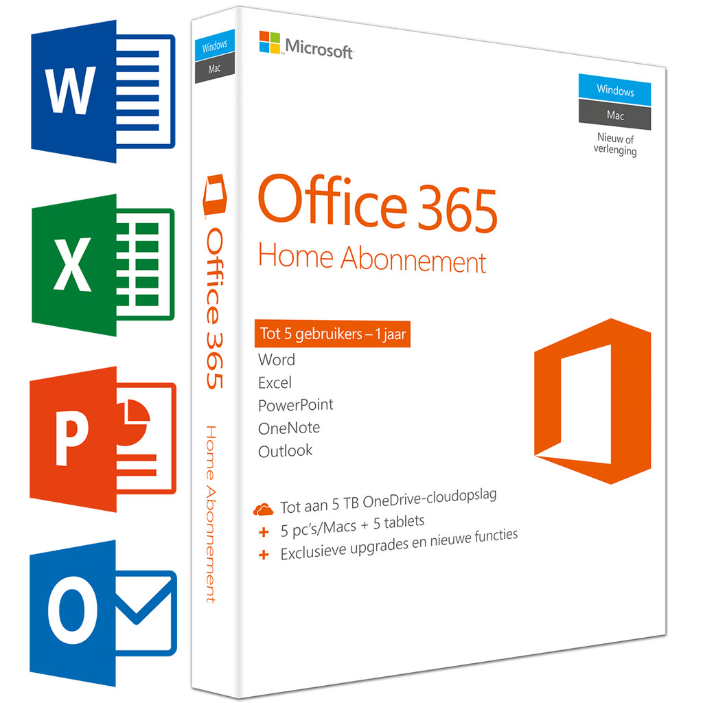 Microsoft Office 365 Home 1 jaar abonnement UK in Schinveld