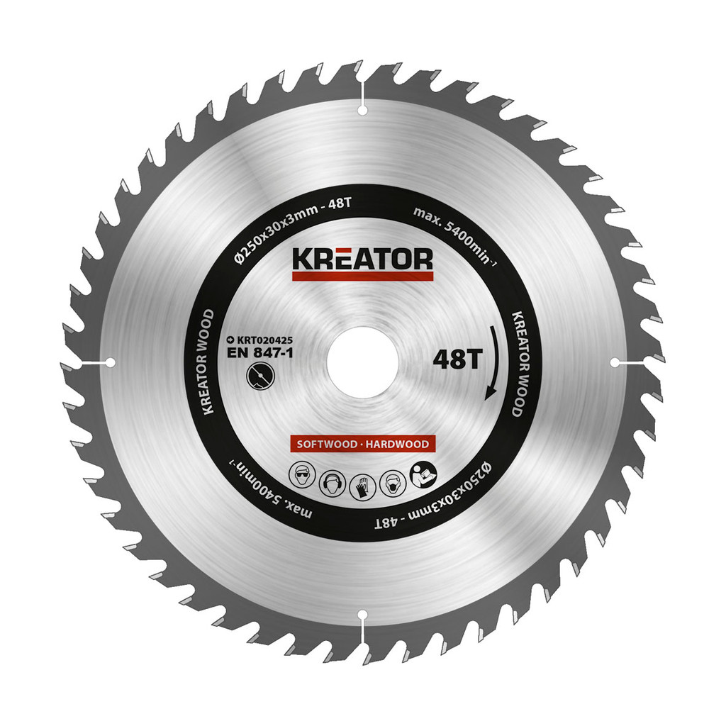 Kreator Zaagblad voor Hout 250x30x3mm 48T in Holthone