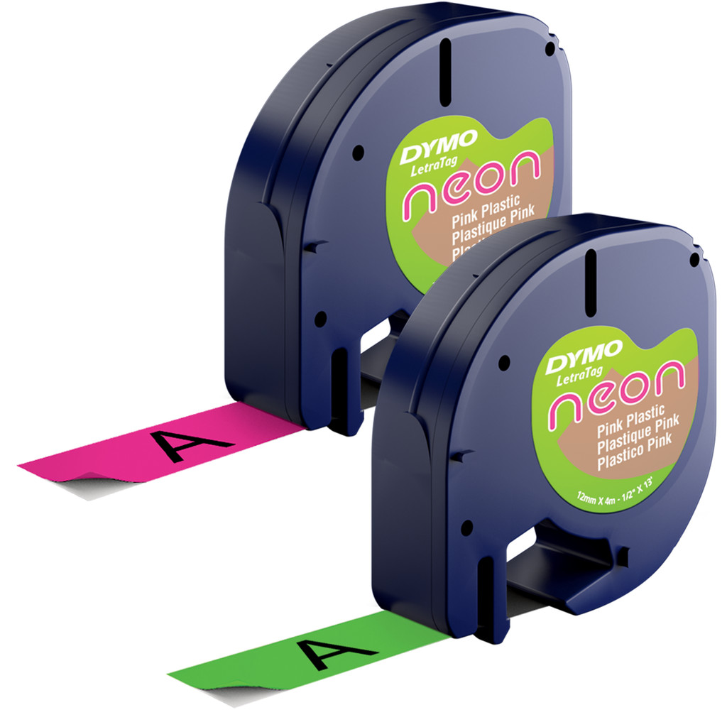 DYMO LetraTag Neon Tape Duo Pack Roze Groen (12mm x 4m) in Hupsel